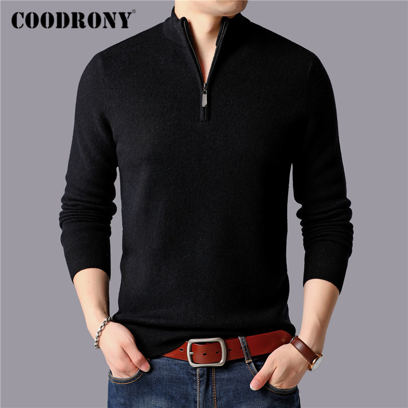 COODRONY Brand Sweater Men 100% Merino Wool Pullover Men Thick Warm Winter Zipper Turtleneck Sweaters Cashmere Pull Homme 93029