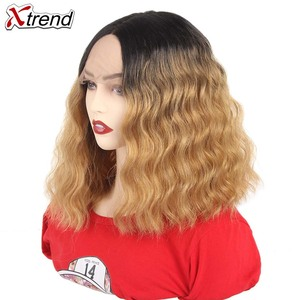 Image 2 - Xtrend Hair Synthetic Lace Front Wig Short Body Wave Middle Part Pelucas De Mujer Black Color 14 Inch Lace Wig