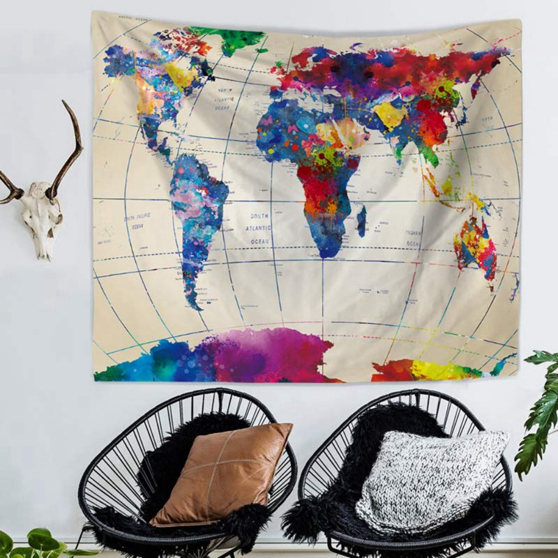 Tapestry Watercolor World Map Tapestry Wall Hanging Colors Map Tapestry Beach Tapestry Indian Dorm Decorate Bedroom Living Room