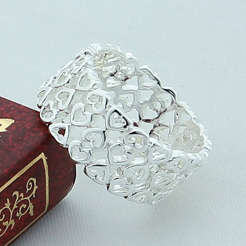 New Fashion Heart Ring Valentine 925 Silver Color Wedding Engagement Rings Jewelry Luxury Top Quality Girl Gift Wholesale in Rings from Jewelry Accessories