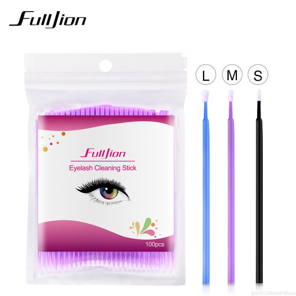 100Pcs Disposable Eyelash Cotton Swab Micro Brushes Eyelashes Extension Cleaning Sticks Brushes For Eyes Mascara Remove Makeup