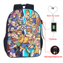 Men Women Boys Girls Inazuma Eleven Go USB Charging School Bags Beautiful Backpack Fashion Rucksack backpack