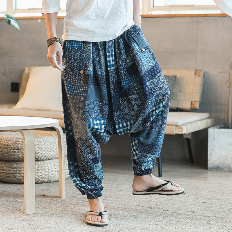 Men Harem Pants Drop Crotch Pockets Joggers Print Casual Trousers Men Loose Hip Hop Baggy Boho Cotton Linen Wide Leg Pants