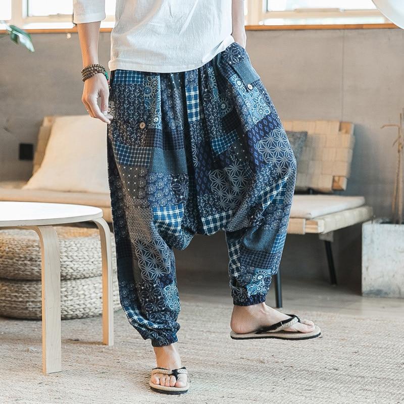 Men Harem Pants Drop Crotch Pockets Joggers Print Casual Trousers Men Loose Hip Hop Baggy Boho Cotton Linen Wide Leg Pants