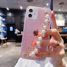 Luxury sequin Pearls Wrist Chain Phone Case For iPhone 12 Pro Max 12 mini 11 ProMax XSMAX 7 8 Plus XR XS SE 2020  Funda Coque