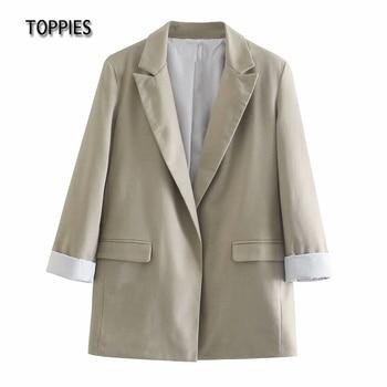 Toppies Summer Thin Linen Blazer Jacket Woman Leisure Suit Jacket Open Stitch Loose Jacket 1