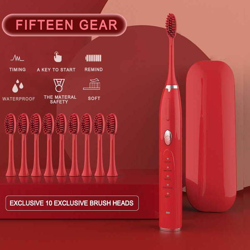 Sonic Electric Toothbrush With 10 Replacement Brush Heads Ultrasonic Rechargeable Electronic Teeth Brush Top Quality Smart Chip