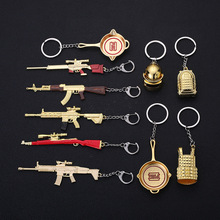 Game PLAYERUNKNOWN'S BATTLEGROUNDS Cosplay Costume Keychain akm 98k Weapon Model Keychain PUBG Pan Helmet  Key Ring Fan's Gift стоимость