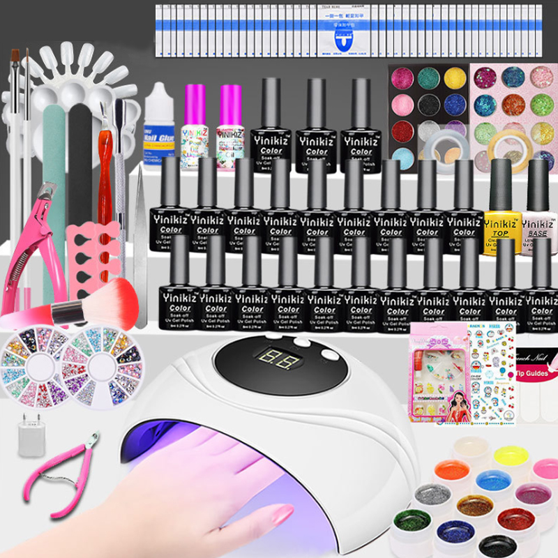 Manicure Set With 12/10pcs Nail Polish Polishing Tool, LED Lamp Dryer, Immersion Manicure Tool Set, Electric Nail Drill Set