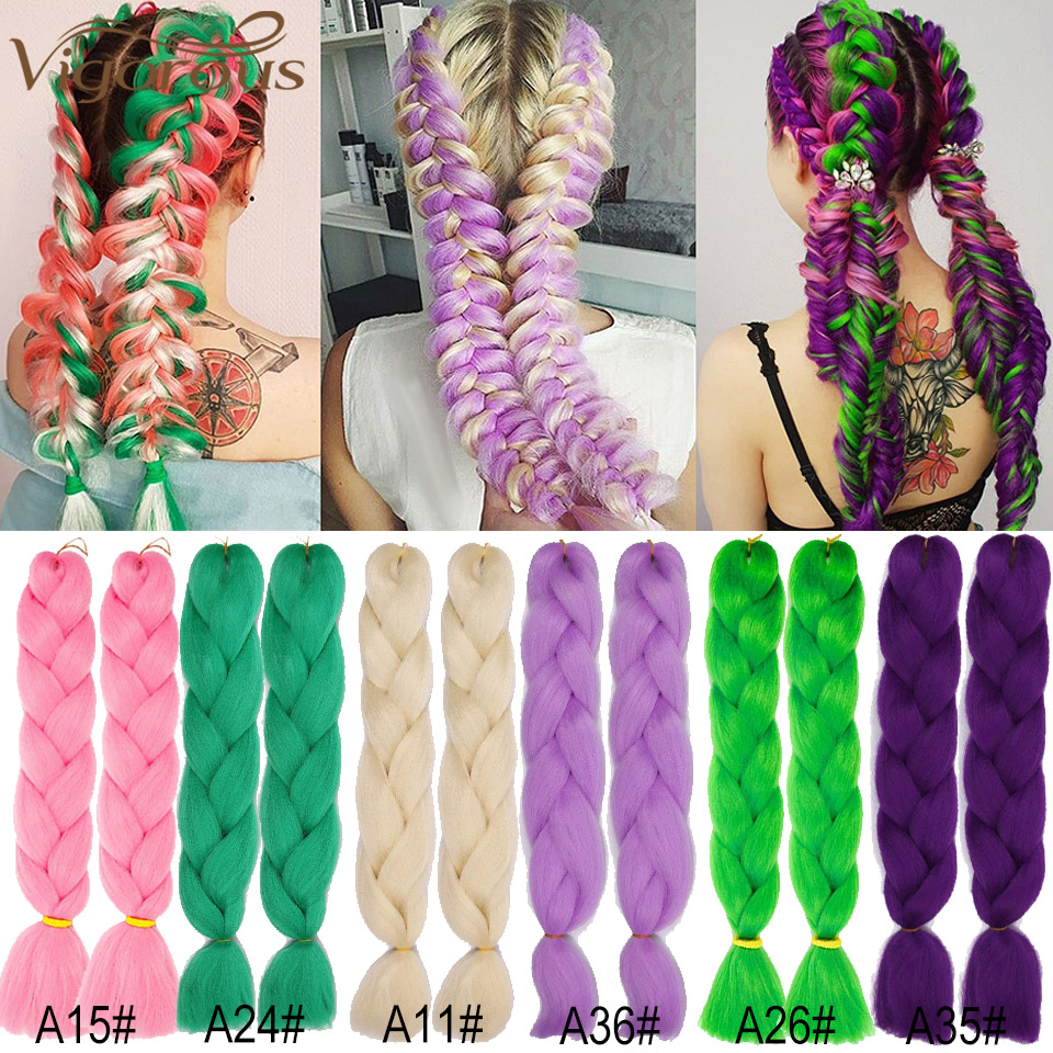 Vigorous Long Ombre Jumbo Braids Synthetic Braiding Hair Crochet Black Grey Pink Hair Extensions Heat Resistant