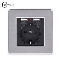 Coswall preto dupla usb porta de carregamento 5 v 2.1a adaptador carregador parede led indicador 16a tomada da ue painel aço inoxidável|Soquetes elétricos| |  -