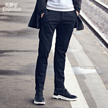 Enjeolon Brand Long Straight Trousers Men Casual Pants Men Fit Long Pants Men Black Solid Casual Pants Male KZ6146