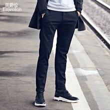 Marca Enjeolon, pantalones largos rectos para hombre, pantalones casuales para hombre, pantalones largos ajustados, pantalones casuales sólidos negros para hombre KZ6146