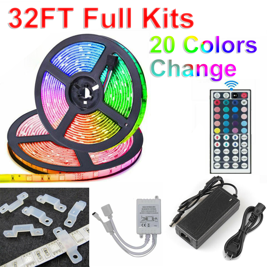 32FT RGB Waterproof LED Strip Light SMD 44 Key Remote 12V DC Power Kit 5050 3528 image
