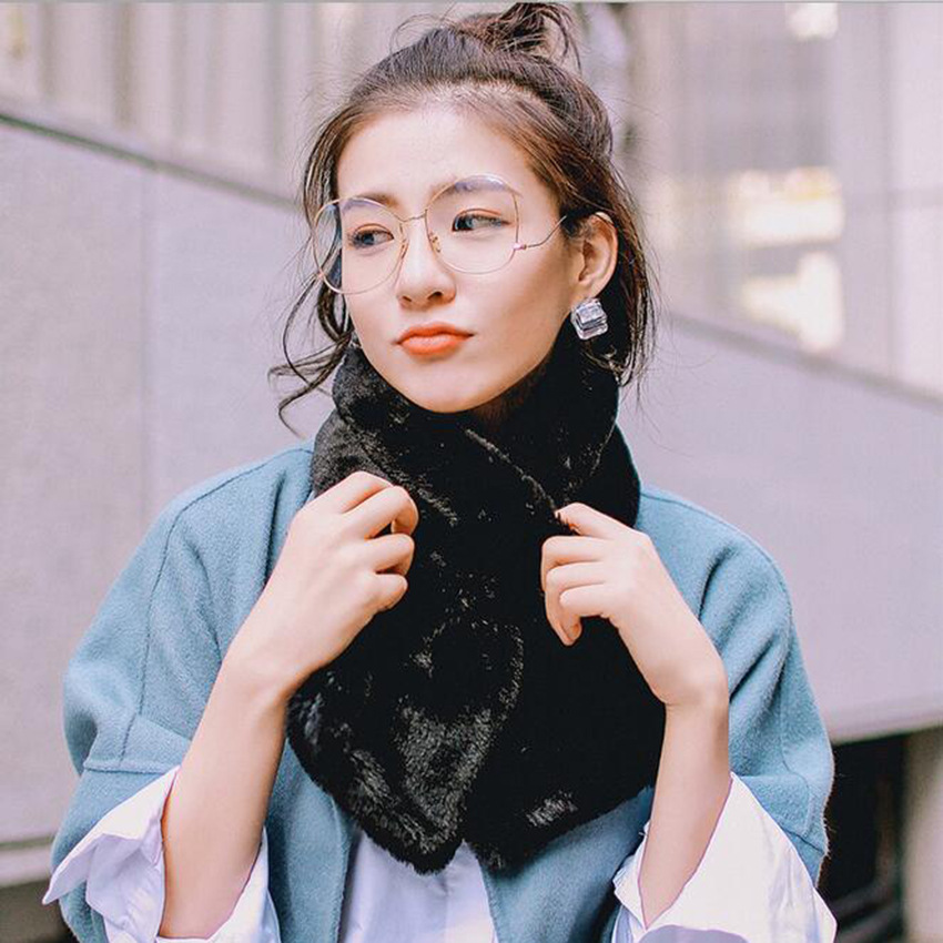 Scarf Pullover White Versatile Warm Korean-style Imitation Rabbit Fur Scarf Men And Women Winter