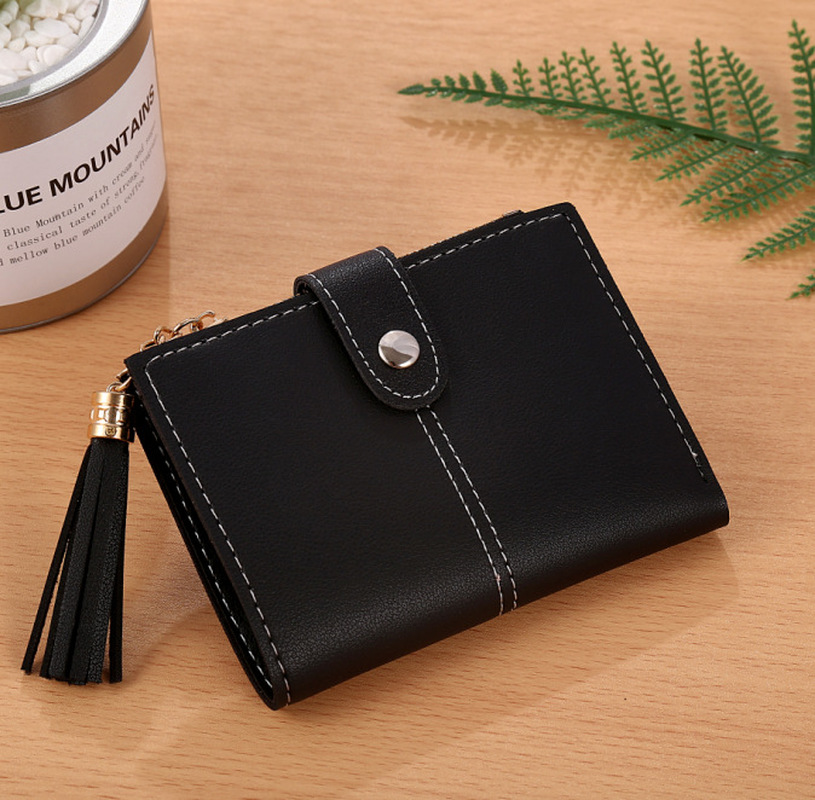 Women Girl Mini Tassel Short Wallet Coin Purse Credit Card Holder Organizer Pocket Classic Solid Purses New Fashion Wallets