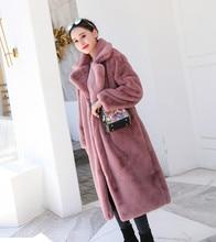 цена на Faux Fur Winter Women Rabbit Fur Coat  Turtleneck  Pink  Belt  Thick Warm Fur  Wide-waisted  Long Fur Coat Plus Size