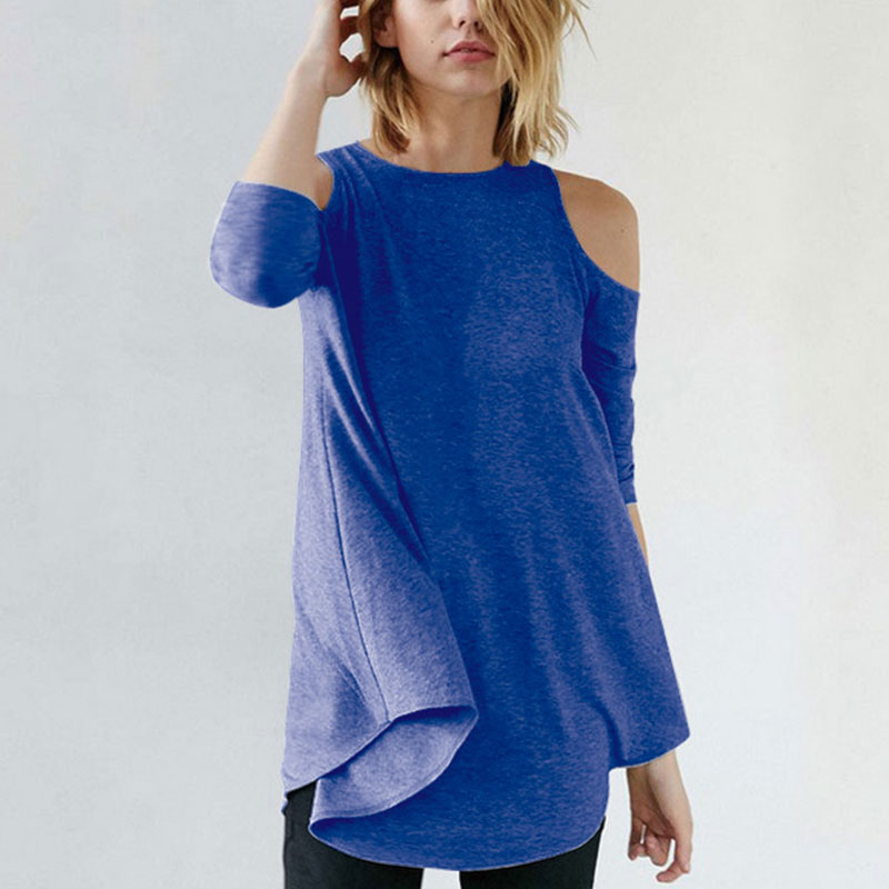 Купить женская футболка с открытыми плечами осень 2020 рукавами три