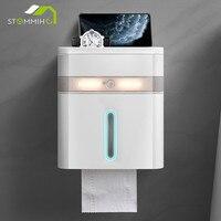 STOMMIHO-soporte de papel higiénico montado en la pared con Sensor inteligente, iluminación LED, impermeable, caja de almacenamiento de pañuelos de baño de gran capacidad