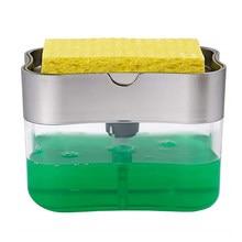 2 em 1 esfregando recipiente dispensador de detergente líquido imprensa-tipo caixa de sabão líquido bomba organizador com esponja ferramenta de limpeza de cozinha