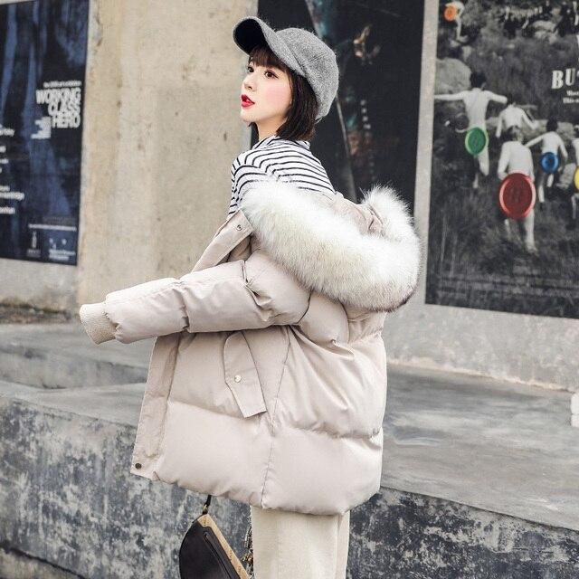 Abrigo de piel grande con cuello para mujer, chaquetas de otoño e invierno para mujer, Parkas de plumas cálidas, chaqueta acolchada de algodón, abrigo con capucha para mujer