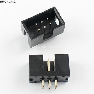 Image 1 - 100 Chiếc 2.54Mm 2X3 Pin 6 Pin Nam Khâm Liệm PCB Hộp Đầu IDC Ổ Cắm