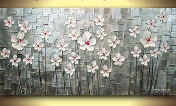 Handmade Painting Contemporary Oil Paintings Textured Abstact Flower Painting White Daisies Modern Wood Wall Art Vinicor Art