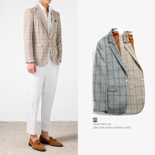 Zogaa 2019 New Fashion Summer Autumn Mens Business Suits Slim Light Plaid British Style Thin Section Tide Youth