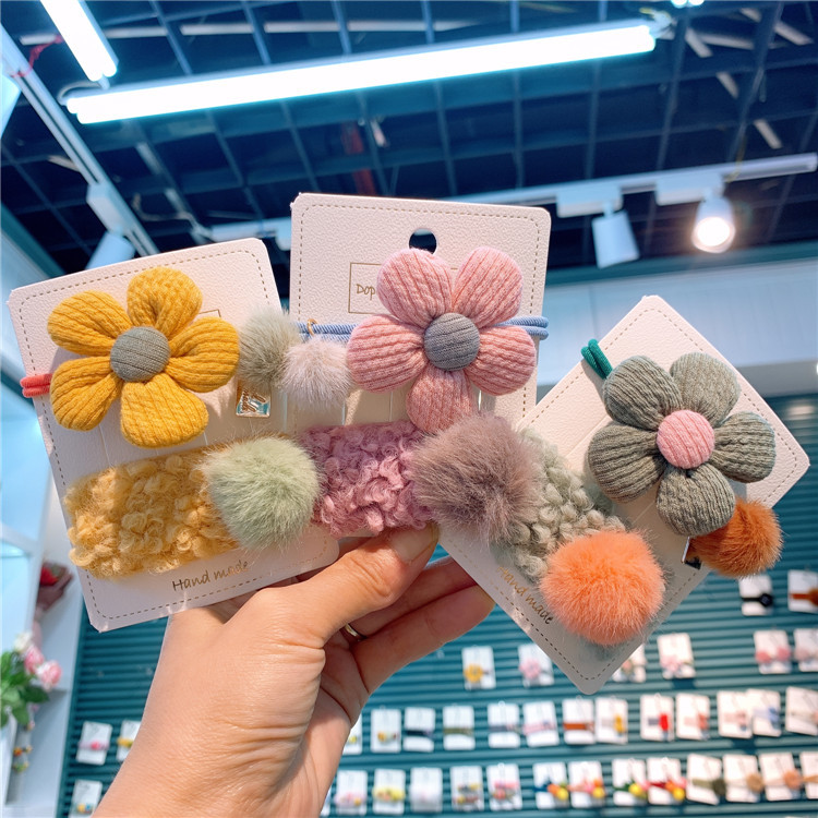 2pcs New Cute Cartoon Flower Fur Bb Clips Girls Hair Accessories Kids Hairpins Children Headwear Baby Hair Clips Headdress