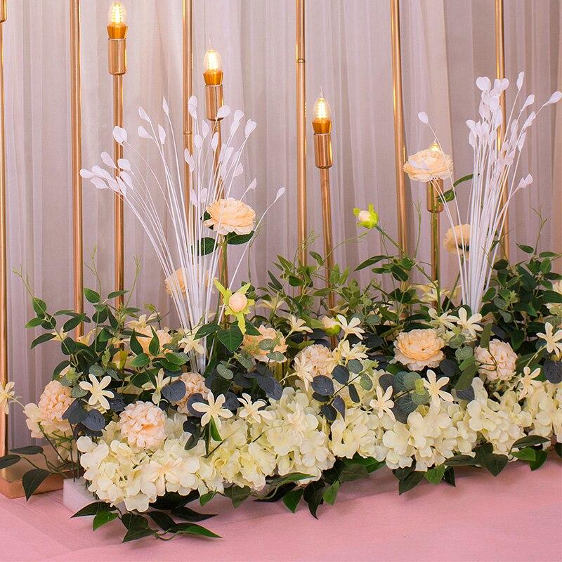 Nouvelle route de mariage cité fleur rangée avec mousse Base soie fleur décoration de mariage fond arc fleur mur étape pré-fonction - 2