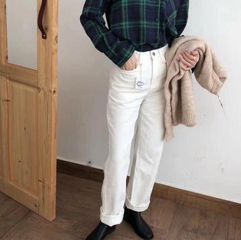 2019 Winter White Jeans Thick Warm Fleece White Denim Trousers High Waist Jeans 6