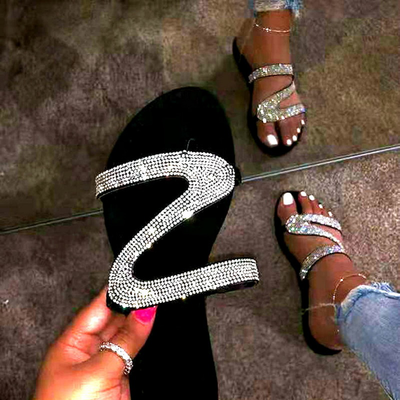 SHUJIN New Bright Diamonds Women's Platform Summer Sandals Flip Flop Outdoor Fashion Rhinestones Buckle Lazy Slippers