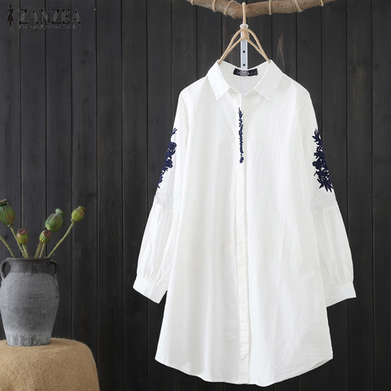 ZANZEA Women Tops Blouses 2020  Vintage Embroidery Shirts Office Lady Work Blusas Casual Solid Tunic Tops Tunic Shirt Plus Size