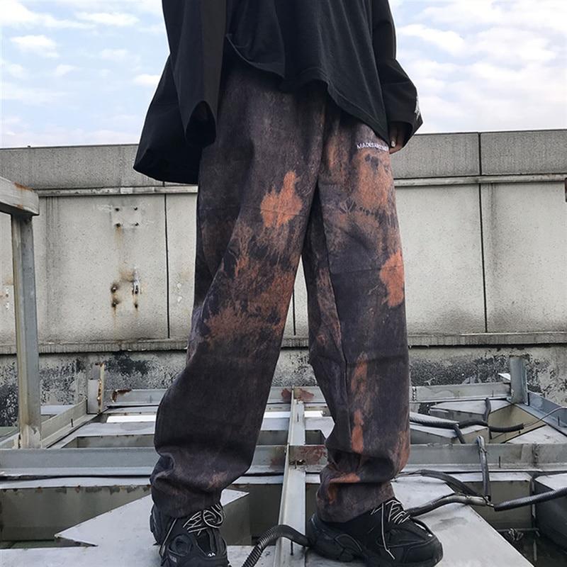 HOUZHOU Tie Dye Harem Pants Women Streetwear Hip Hop Wide Leg Pants For Women Hippie Harajuku Baggy Bunch Legs Corduroy Pants