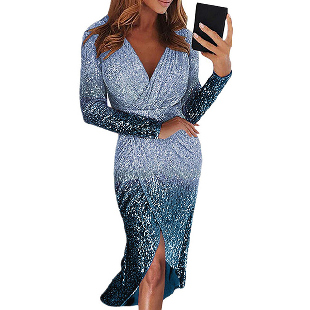 Movokaka Night Dress Women 2021 Long Sexy Sequins Dresses For Women Party Gradient Color Dresses Woman Long Sleeve Women's Dress 3