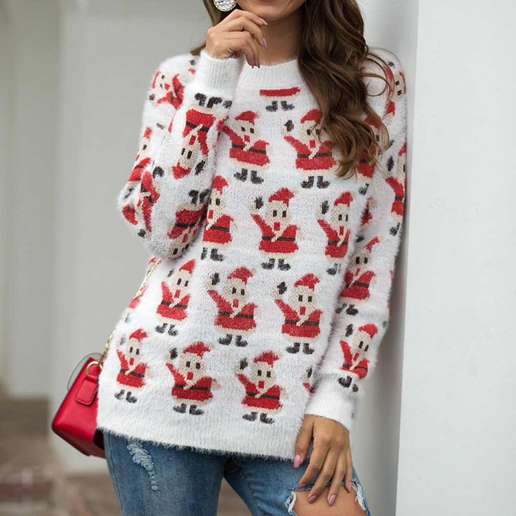 Winter Sweater Pullover Hollow-Jersey-Jumper Long-Sleeve Fluffy Christmas Women Ladies
