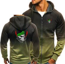 AMERIKAANSE groene baret schedel Herfst Mannen Hoodies Rits Gradiënt Sweatshirt Streetwear Jas Heren hooded Trainingspak Slim Fit Fitness(China)