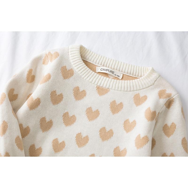 1-6Yrs New 2020 Boy Girl Long Sleeve Loving Heart Knitted Sweater Autumn Winter Boys Girls Sweaters For Baby Girls Kids Sweater 5