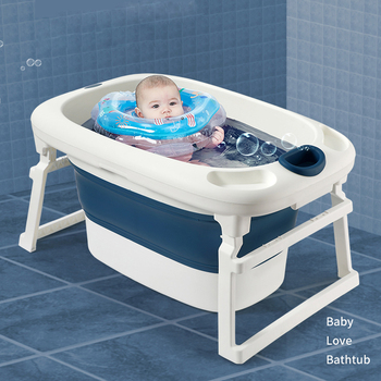 2 in 1 Foldable Bathtub with Safety Position Seat for Newborn Baby Outdoors Collapsible Portable Baby Shower Bathtub