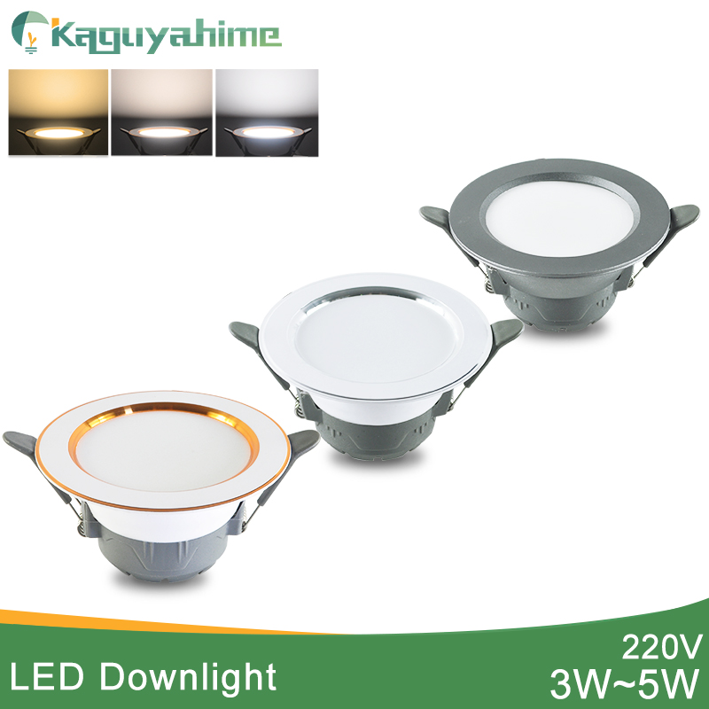 Kaguyahime LED Downlight 5w 3w LED Spot Light AC 220V 3000k 4500K 6000K Indoor Recessed Lamp Gold Silver Surface LED Spotlight
