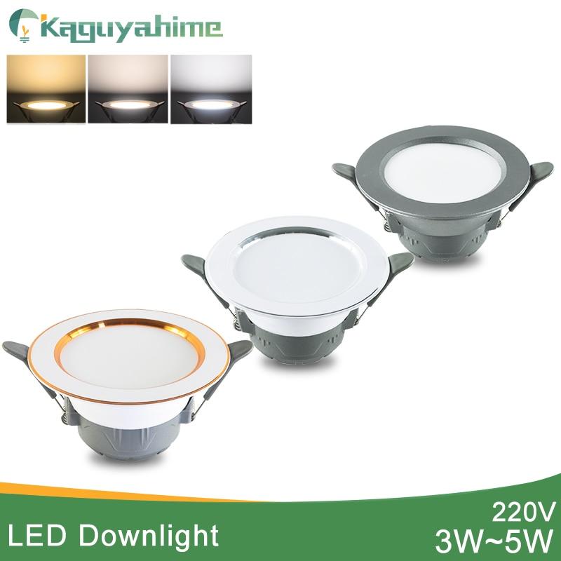 Kaguyahime LED Downlight 5w 3w LED Spot Light AC 220V 3000k 4500K 6000K Indoor Recessed Lamp Gold Silver Surface LED Spotlight