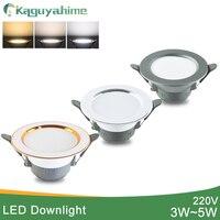 Kaguyahime led downlight 5w 3w conduziu a luz do ponto ac 220 v 3000k 4500 k 6000 k recesso interior lâmpada superfície de prata ouro led spotlight|Luzes embutidas de LED|   -