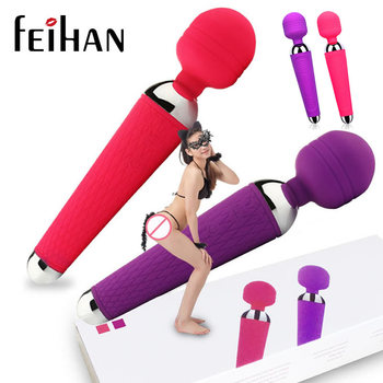 FEIHAN USB Rechargeable 15 Speed AV Magic Wand Vibrator Massager G Spot Oral Clit Vibrators for Women Adult Sex Products Toys
