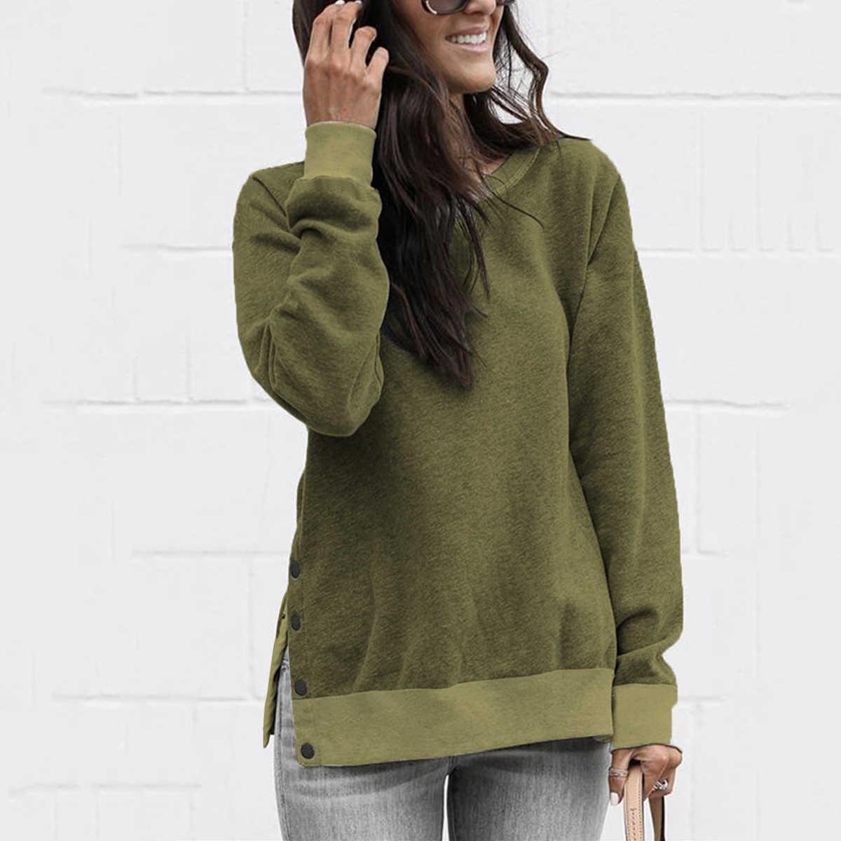 Beiläufige Dünne Mit Kapuze Herbst Winter Frauen Top O Neck Langarm Seite Split Tasten Lose Sweatshirt Damen Pullover Grau Hoodies