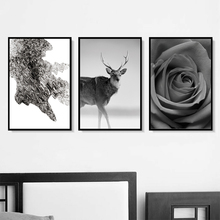Deer Rose Flower Abstract Painting Nordic Posters And Prints Wall Art Print Canvas Pictures For Living Room Decor