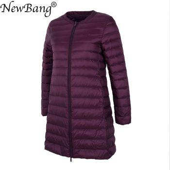NewBang Long Ultra Light Down Jacket Women Collarless Coat With Zipper Feather Outwear Jacket Women Slim Female Windbreaker