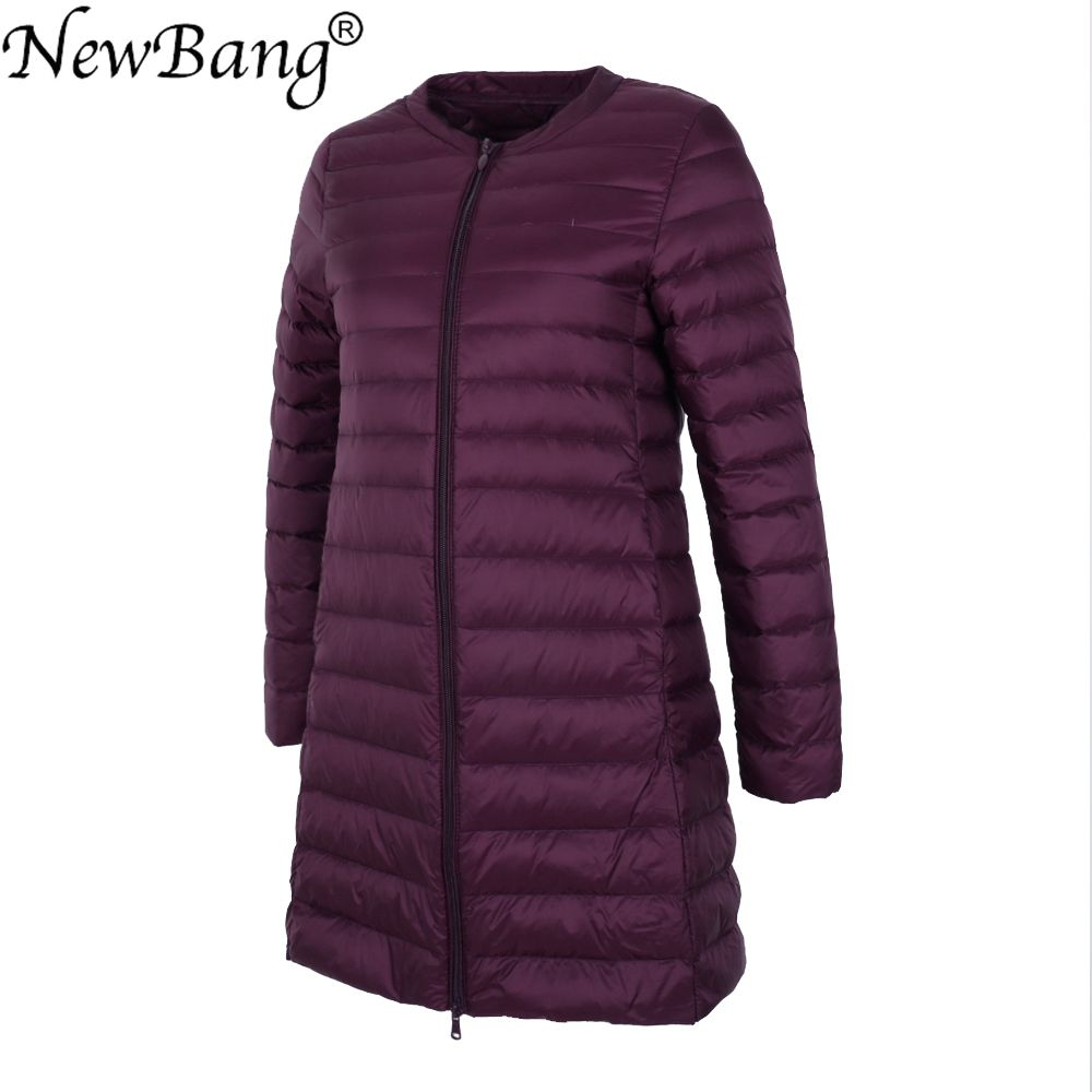 NewBang Long Ultra Light   Down   Jacket Women Collarless   Coat   With Zipper Feather Outwear Jacket Women Slim Female Windbreaker