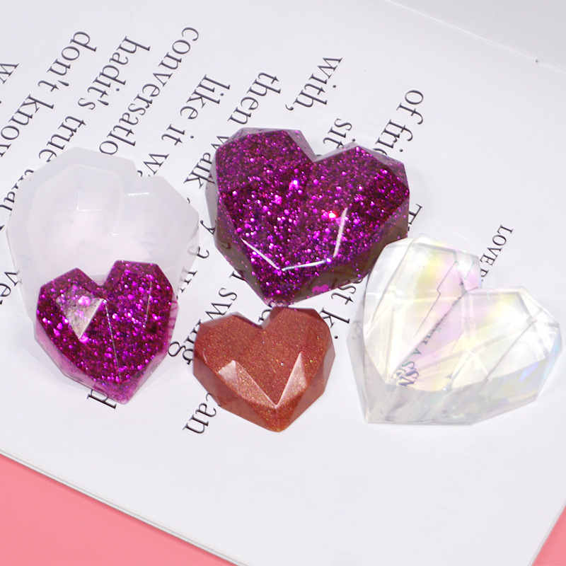 3D Crystal Geometry Heart-shaped Hexagon Highlight Heart Silicone Mold Silicone Mold For Resin Epoxy Resin Molds Uv Resin