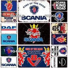 Scania cartel de Metal Vintage Placa de estaño signo de pared para la decoración de Bar Pub Artesanía de Metal fiesta Retro cartel regalo personalizado al por mayor