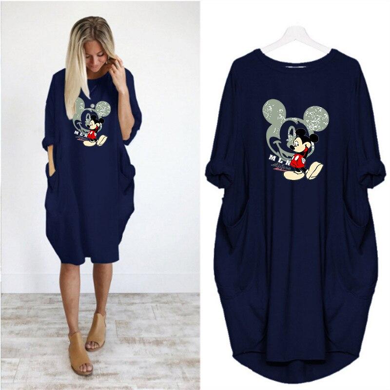 Dress Women Mickey Cartoon Print Pocket Loose Dresses Vintage Fall Midi Clothes Party Casual  Pregnant Women Plus Size Dress